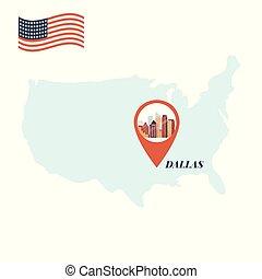 地図, 概念, アメリカ, ピン, ダラス, 旅行