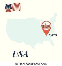 地図, 概念, アメリカ, ピン, 旅行, アトランタ