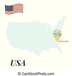 地図, 概念, アメリカ, ピン, 旅行, caharleston