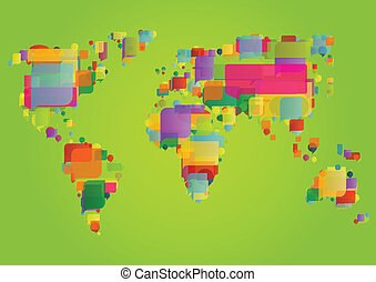 地図, 概念, カラフルである, イラスト, ベクトル, スピーチ, 背景, 世界, 泡, 作られた