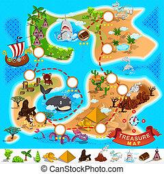 地図, 海賊, 宝物