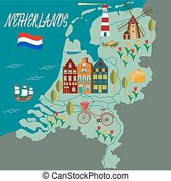 地図, 漫画, 伝説, オランダ, アイコン