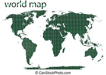 地図, 点を打たれた, 隔離された, 背景, 世界, 白