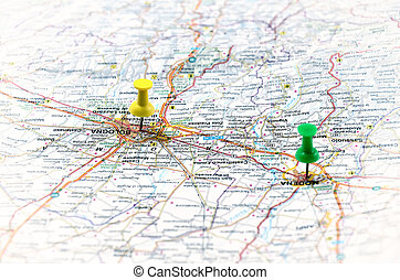 地図, 白, ポイント, イタリア, 緑
