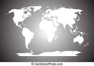 地図, 白, 灰色, 背景, 世界