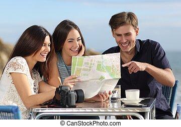 地図, 相談, グループ, 観光客, 若い, ペーパー, 友人