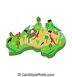 地図, 等大, 植物相, イラスト, オーストラリア, ベクトル, fauna., 動物, style.