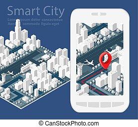 地図, 等大, 3d, 都市