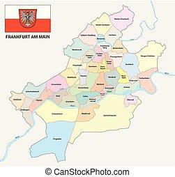 地図, 管理上, 政治的である, 旗, 本, frankfurt