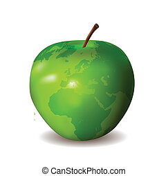 地図, 緑のリンゴ, 世界