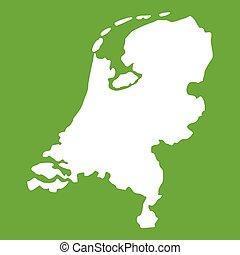 地図, 緑, オランダ, アイコン