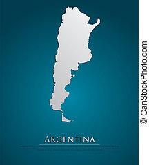 地図, 自然, ペーパー, アルゼンチン, カード, 3d