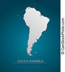 地図, 自然, ペーパー, 南アメリカ, カード, 3d