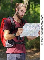 地図, 自然, 探検家, マレ, nthe, 読書