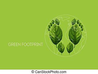 地図, 葉, 概念, 惑星, 緑地球, 保護, 足跡, 環境, 生態学的, 作られた