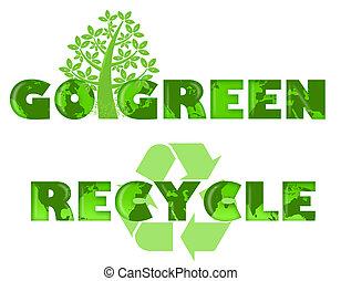 地図, 行きなさい, 緑, ロゴ, リサイクルしなさい, 世界
