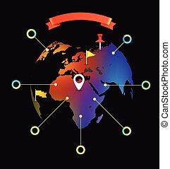地図, 要素, infographic, デザイン, 世界, template.