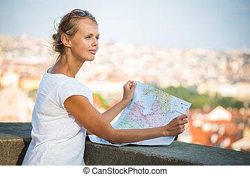 地図, 観光客, 勉強, 若い, 女性, かなり