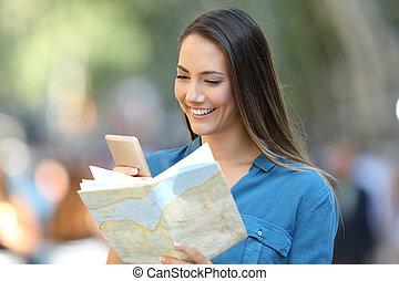 地図, 観光客, 点検, 目的地, 電話, 痛みなさい