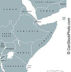 地図, 角, アフリカ, 国