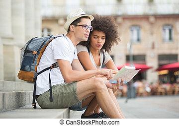 地図, 訪問, 点検, 恋人, 若い, ボルドー, 観光客