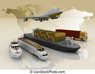 地図, 輸送, 背景, タイプ, 世界