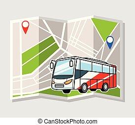 地図, 輸送, 背景, バス, 都市