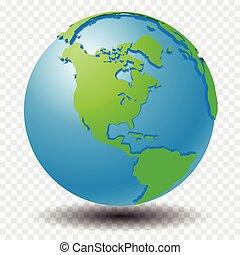 地図, 透明度, 地球, -, イラスト, ベクトル, 原野, 格子, アメリカ
