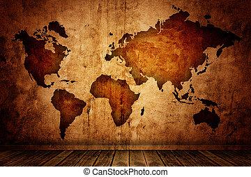 地図, 部屋, 原野
