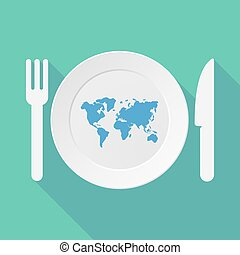 地図, 長い間, テーブルウェア, イラスト, 世界, 影
