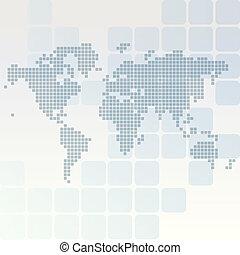 地図, 長方形, 円形にされる, 点を打たれた, 世界