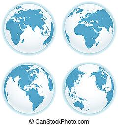 地図, 隔離された, コレクション, ベクトル, white., 地球, 案