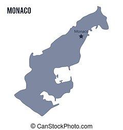 地図, 隔離された, バックグラウンド。, ベクトル, モナコ, 白