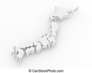 地図, 隔離された, バックグラウンド。, japan (白, 3d