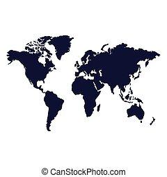 地図, 隔離された, 白, 世界, ベクトル