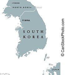 地図, 韓国, 政治的である, 南