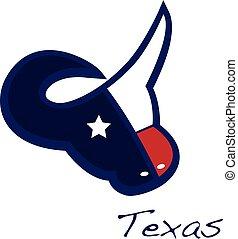 地図, 頭, 旗, 雄牛, ロゴ, テキサス