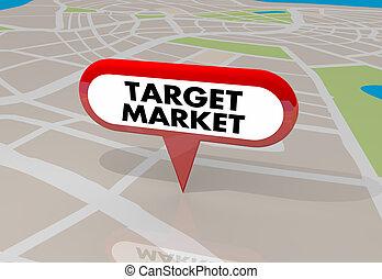 地図, 顧客, ターゲット, ピン, イラスト, 新しい, 市場, 3d