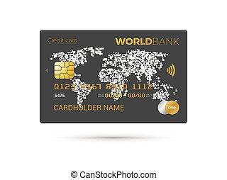 地図, 黒, カード, 世界, クレジット