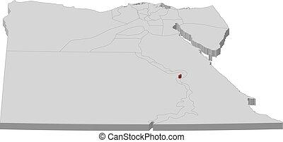 地図, 3d-illustration, -, エジプト, ルクソール