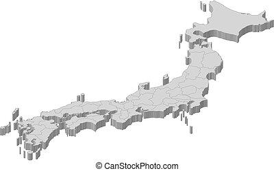地図, 3d-illustration, -, 日本