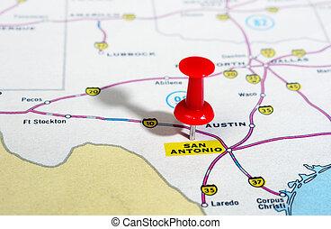 地図, antonio, アメリカ, san, テキサス