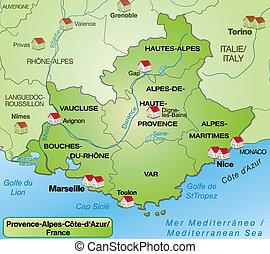 地図, azur, d, プロバンス - alpes  - cote