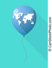 地図, balloon, 影, 長い間, 世界