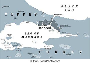 地図, bosphorus, 海峡, イスタンブール, 政治的である, ∥あるいは∥, bosporus