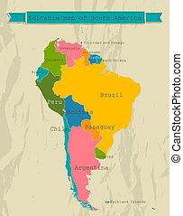 地図, countries., すべて, アメリカ, 南, editable