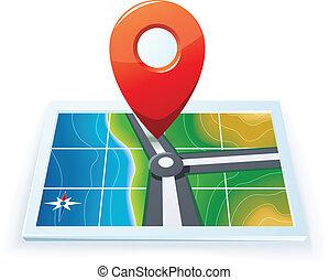地図, gps, 現代, アイコン