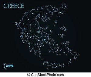 地図, greece., ベクトル, illustration., 世界