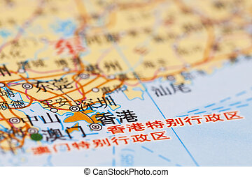 地図, hong, 陶磁器, kong.