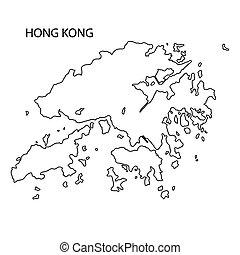 地図, hong, 黒, アウトライン, kong